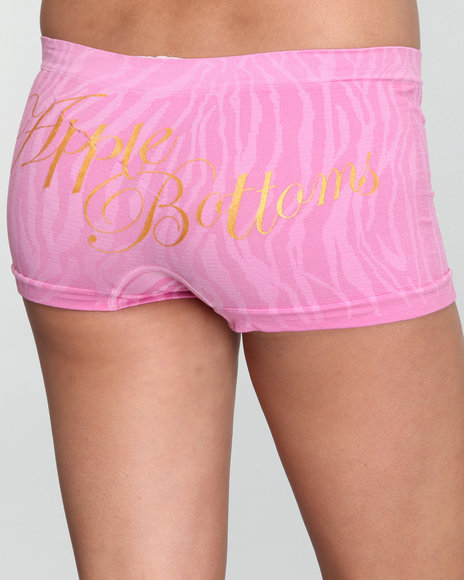Apple Bottoms Women Pink So-Far-Ab Zebra Textured Seamless Boyshort