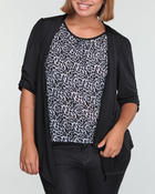 Basic Essentials - Cheetah top w/black jacket 2fer (plus)