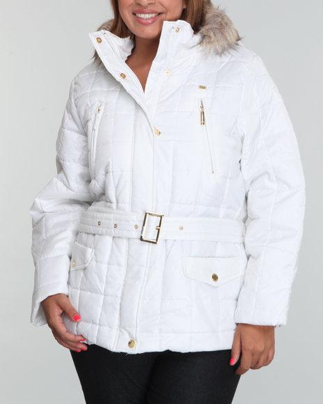 Ecko Red Women White Puffer Jacket W/Belt (Plus Size) W/ Faux Fur Lined Hood