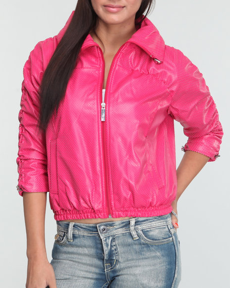 Sean John Women Pink Zip Front Ruched Sleeve Perforated Jacket