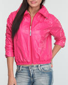 Women - Zip Front Ruched Sleeve Perforated Jacket