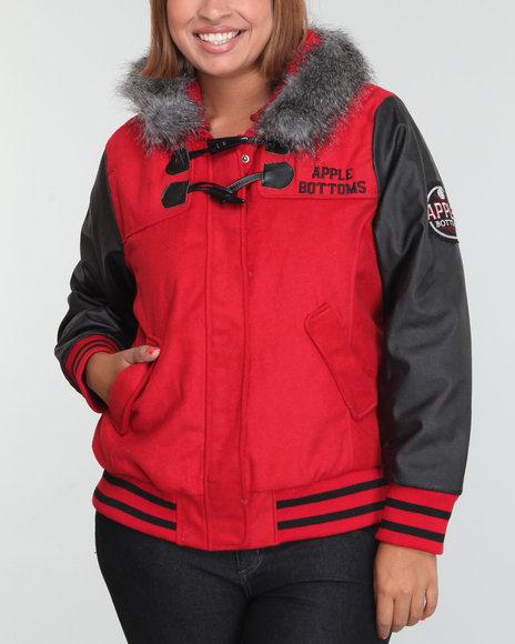 Apple Bottoms Women Red Wool Hooded Varsity Jacket (Plus Size)