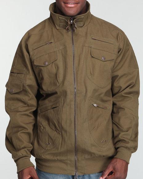 Pelle Pelle Men Olive 2-Way Zip Twill Jacket