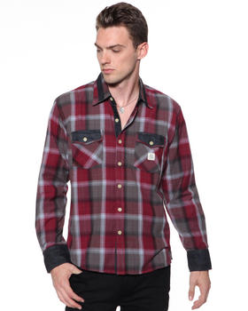 DJP OUTLET - Plaid Shirt w/ Demin Insert Detail