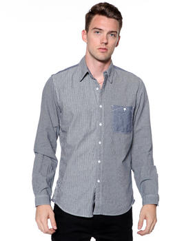 DJP OUTLET - Mixed Media Pinstripe Chambray Shirt