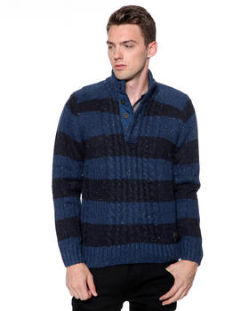 DJP OUTLET - 3GG Contrast Nep Yarn Rugby Striped Cable Knit Button Mock Sweater