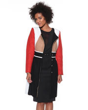 DJP OUTLET - Colorblock Collarless Coat