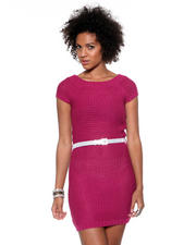 Women - Sweater Dress w/ Metallic Belt