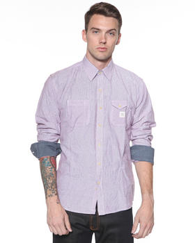 DJP OUTLET - Micro Button Front Shirt w / Chambray Rolled Cuff
