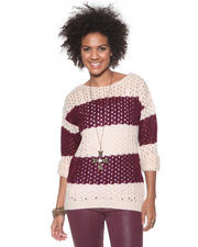 Women - Open Stitch Striped Sweater