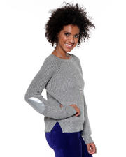 Women - Scoopneck Lurex Sweater w/ Elbow Patch