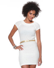 Dresses - Sweater Dress w/ Metallic Belt