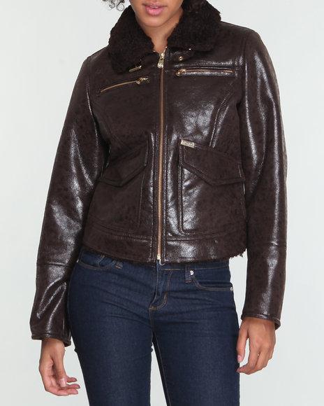 Sean John Women Brown Distressed Faux Shearling Motorcycle Coat