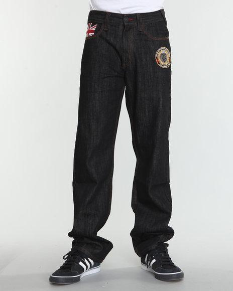 COOGI Men Dark Wash Military Side Leg Detail Denim Jeans