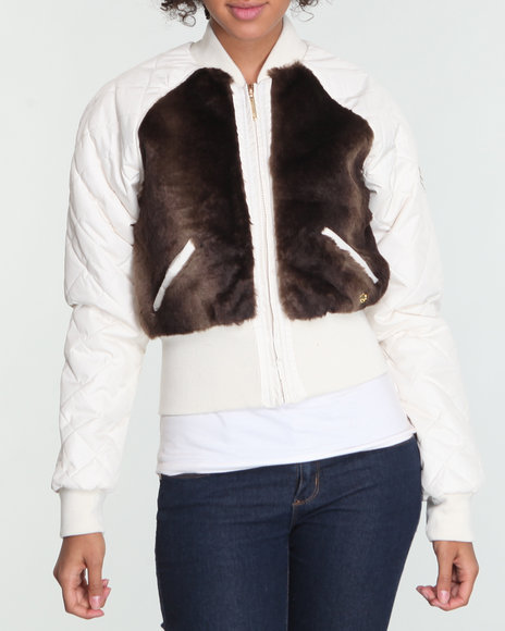 Ecko Red Women White Faux Fur Quilted Jacket