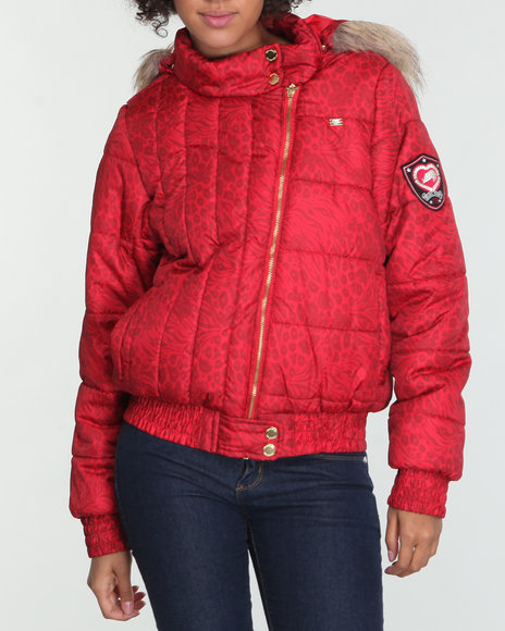 Ecko Red Women Red Puffer Jacket W/Hood