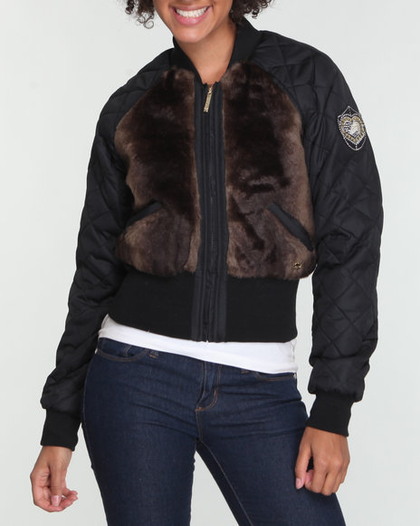 Ecko Red Women Black Faux Fur Quilted Jacket