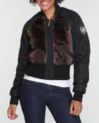 Women - Faux fur quilted jacket