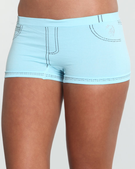 Apple Bottoms Women Blue Stoned Denim Look Seamless Short