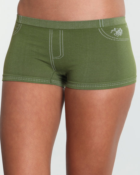 Apple Bottoms Women Green Stones Denim Look Seamless Short
