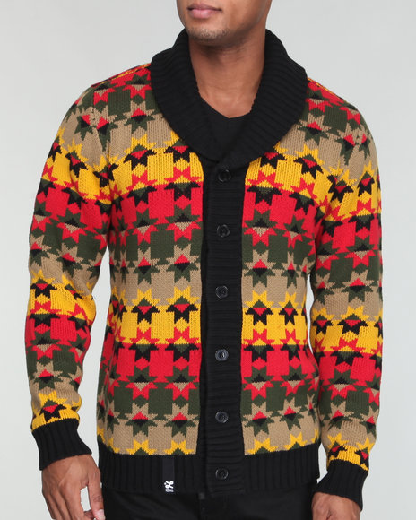 LRG Men Multi Cliff Cotton Cardigan