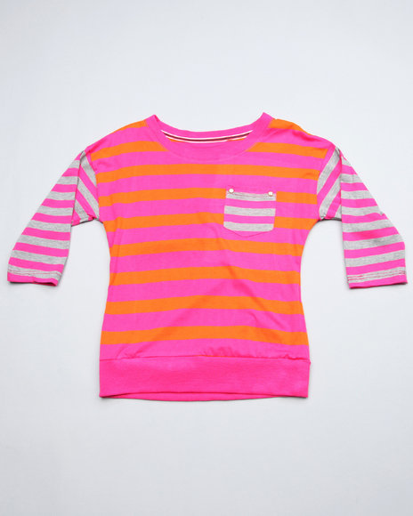 boat neck stripe 3/4 sleeve top (big girls)