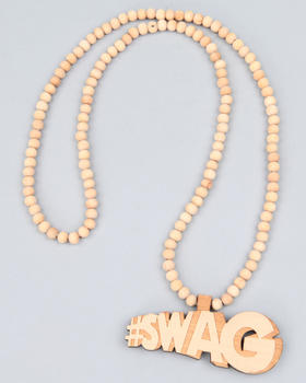 Hip Hop Accessories - Wood Beaded # Swag Necklace