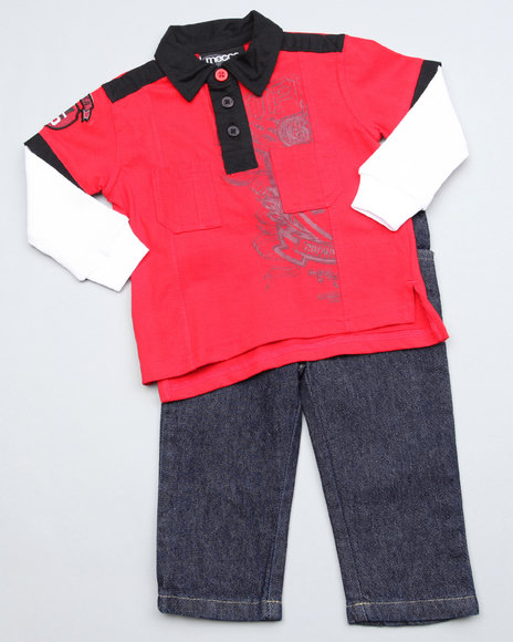 Mecca Boys Red 2Pc Top N Jean