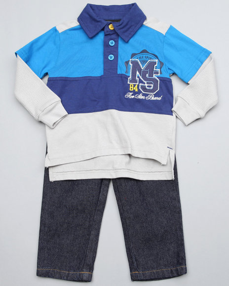 Mecca Boys Blue,Grey 2Pc Top N Jean