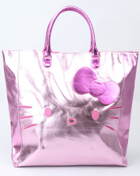 hello kitty pink metallic colorblock large tote
