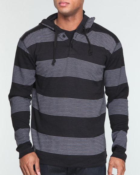 Company 81 Men Black L/S Thermal Henley/Hoody Shirt