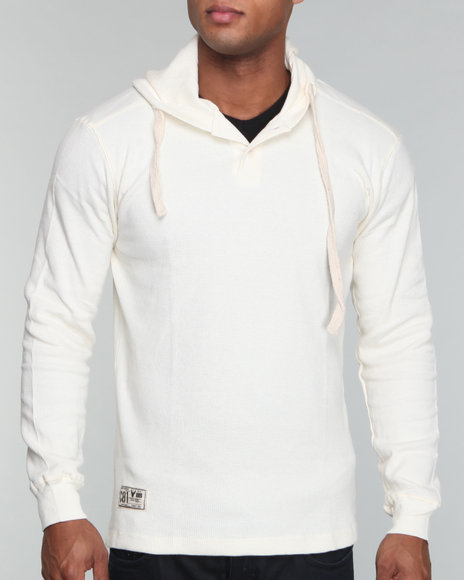Company 81 Men Neutral Henley Pullover Thermal Hoodie