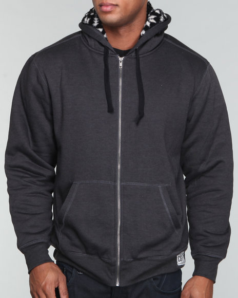 fully lined sherpa full zip hoodie