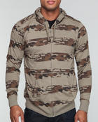 Men - Striped camo slub jersey hoodie