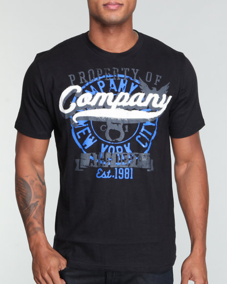 Company 81 Men Black Company 81 Script Crew Neck Tee