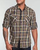 Men - Military style double chest pocket plaid button down shirt