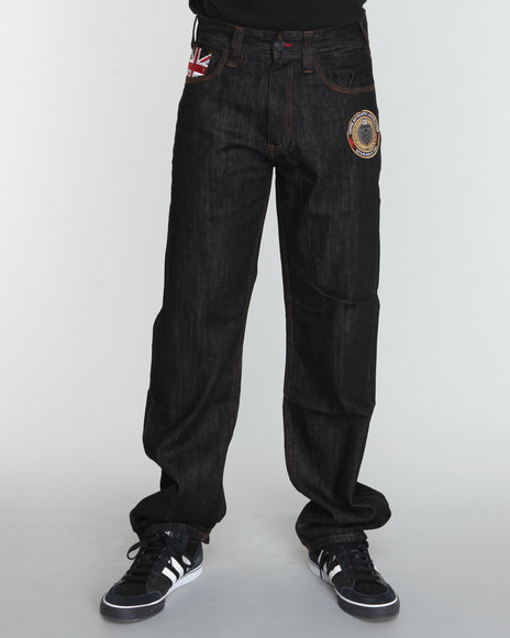 COOGI Men Black Military Side Leg Detail Denim Jeans