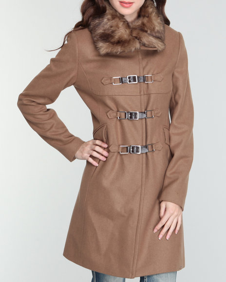 removable fur collar buckle trim long wool coat