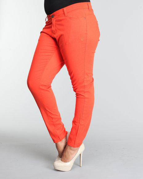 Apple Bottoms Women Orange Logo Pocket Bling Trim Skinny Jean (Plus Size)