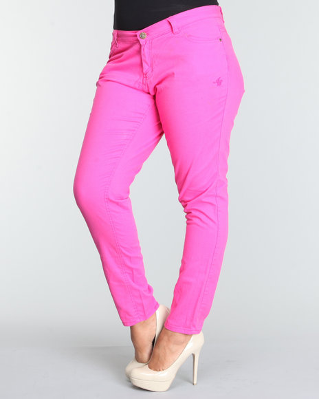 Apple Bottoms Women Pink Logo Pocket Bling Trim Skinny Jean (Plus Size)