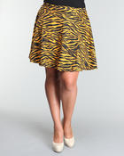 Bottoms - Dollie Skater animal print ponte skirt (plus)