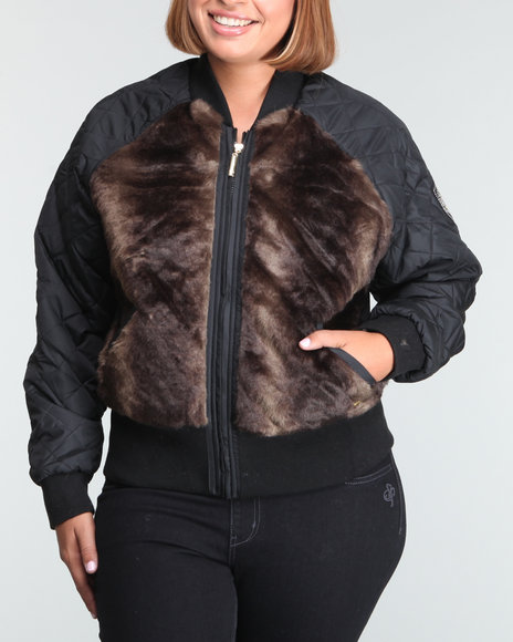 Ecko Red Women Black Faux Fur Quilted Jacket (Plus Size)
