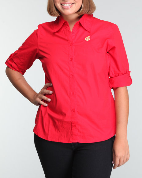 Rocawear Women Red Rookie Back Logo Woven Top