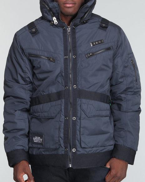 COOGI Men Charcoal Moto - Style Strapped Jacket