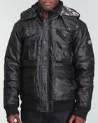 Men - Vegan Leather Pocketed Quilted Jacket
