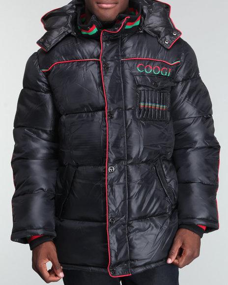 COOGI Men Black Cire Puffer Hooded Jacket