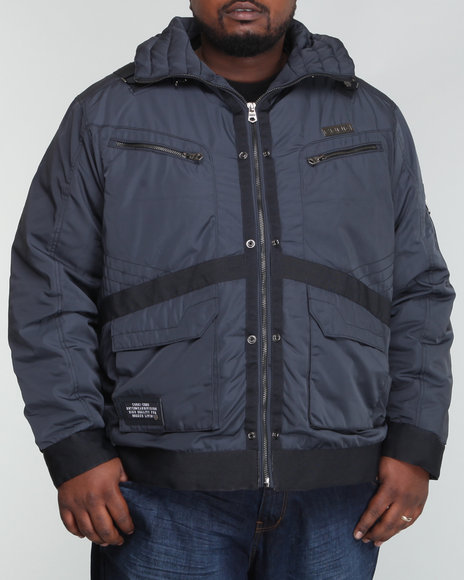 COOGI Men Charcoal Moto - Style Strapped Jacket (B&T)