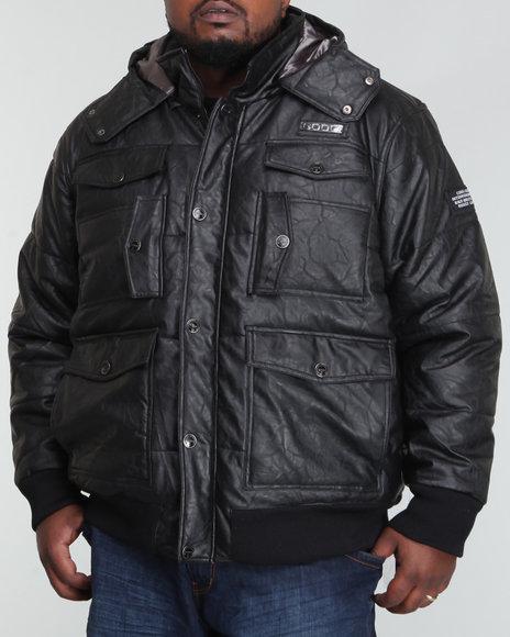 COOGI Men Black Vegan Leather Pocketed Quilted Jacket (B&T)