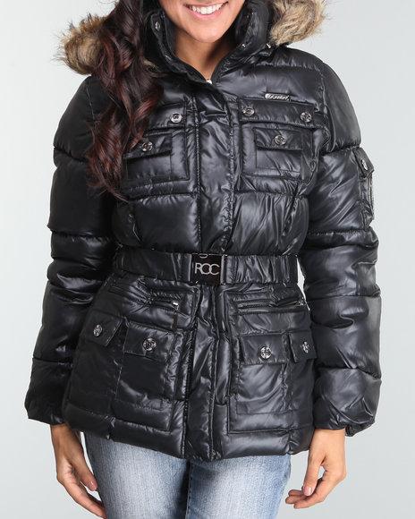 Rocawear Women Black Nylon Belted Puffer