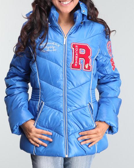 Rocawear Women Blue Nylon Short Varsity Puffer